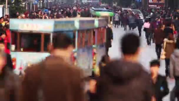 Time Lapse of Busy Crowds Traffic on Nanjing Road, Shanghai