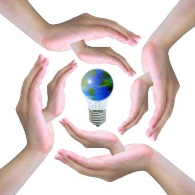Hand holding a world