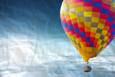 The crumpled of colorful hot air balloon