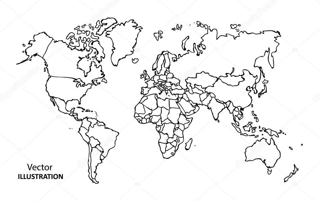 hand tekenen kaart van de wereld met landen  u2014 stockvector