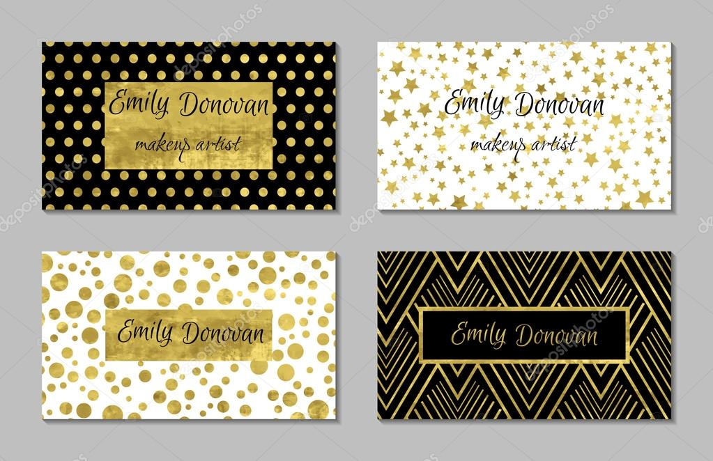 Set of 4 gold and white business card template or gift cards set of 4 gold and white business card template or gift cards vetores de reheart Gallery