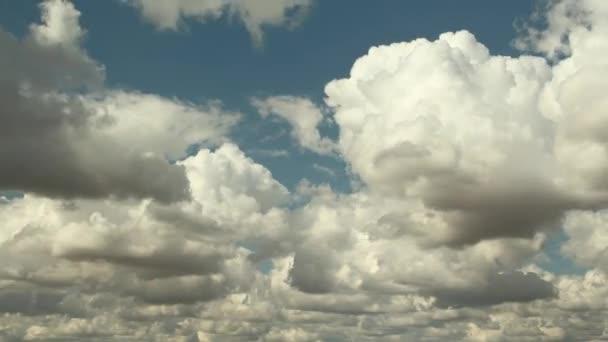Blue sky white clouds. Puffy fluffy white clouds. Cumulus cloud cloudscape timelapse. Summer blue sky time lapse. Nature weather blue sky. Cloud time lapse nature background.