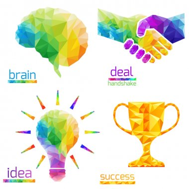 idea light bulb, human brain, handshake, deal, success, cup