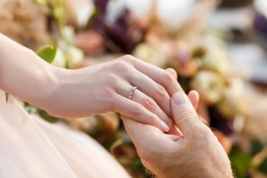 engagement newlyweds.  Wedding ring on the brides hand.