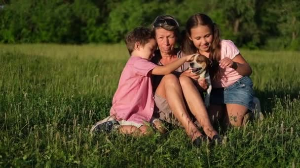 babička se dvěma dětmi a pes sedí a mluví na letní louce