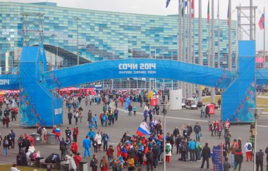 crowd in Olympic park of Sochi