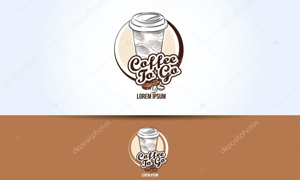 coffee take away paper cup logo design stock vector artefacti