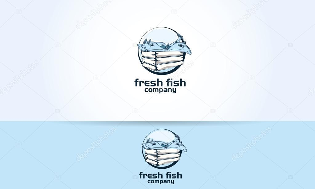 fish fishes box fresh restaurant logo illustration