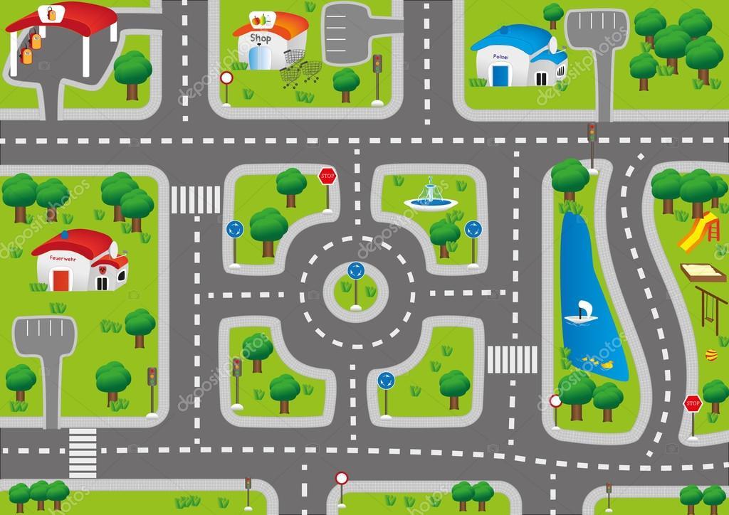 Jugar coche mat alfombra para ni os vector de stock - Alfombras para jugar ninos ...
