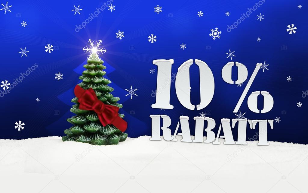 Christmas Tree 10 percent Rabatt discount snow blue — Photo by artefacti