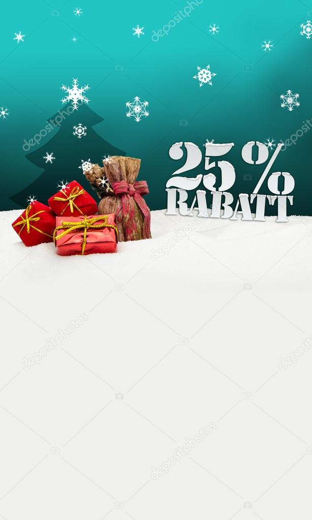 Weihnachtsgeschenke-25 Prozent Rabatt Rabatt — Stockfoto © artefacti ...