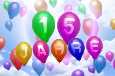 German 15 years balloon colorful balloons