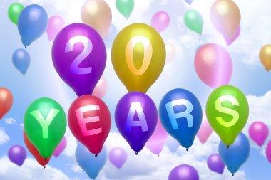 20 years happy birthday balloon colorful balloons