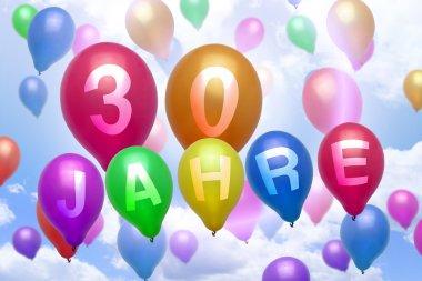 German 30 years balloon colorful balloons