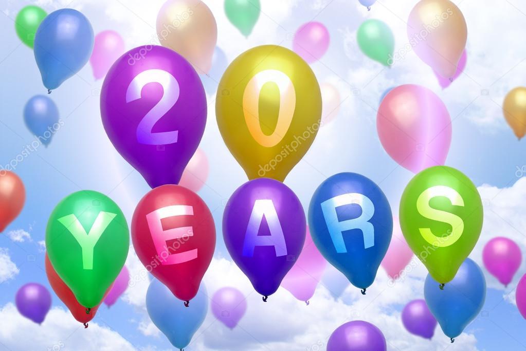 grattis på din 20 årsdag 20 år Grattis ballong färgglada ballonger — Stockfotografi  grattis på din 20 årsdag