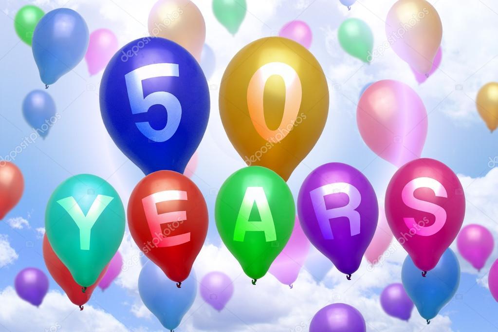 grattis 50 årsdagen 50 år Grattis ballong färgglada ballonger — Stockfotografi  grattis 50 årsdagen