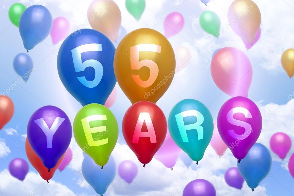 grattis på 55 årsdagen 55 år Grattis ballong färgglada ballonger — Stockfotografi  grattis på 55 årsdagen