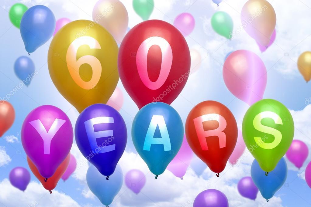 60 Jaar Gelukkige Verjaardag Ballon Kleurrijke Ballonnen Stockfoto