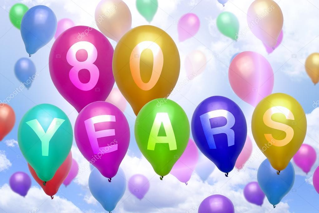 grattis på 80 årsdagen 80 år Grattis ballong färgglada ballonger — Stockfotografi  grattis på 80 årsdagen