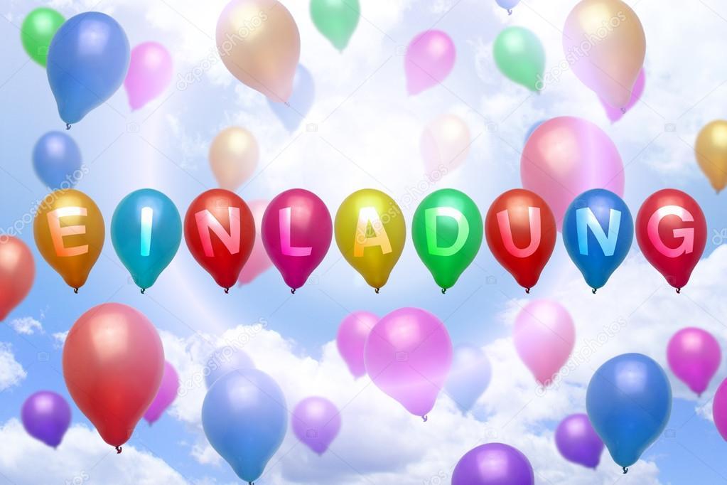 Niemiecki Zaproszenie Balon Balony Kolorowe Zdjęcie Stockowe