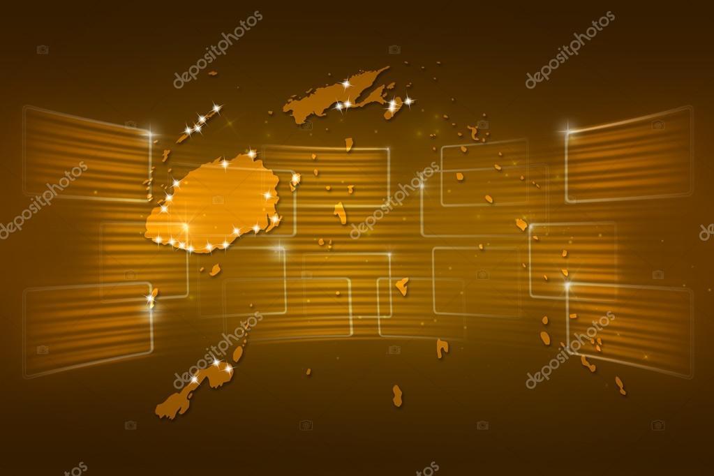 Fiji Islands Map World Map News Communication Yellow Gold Stock