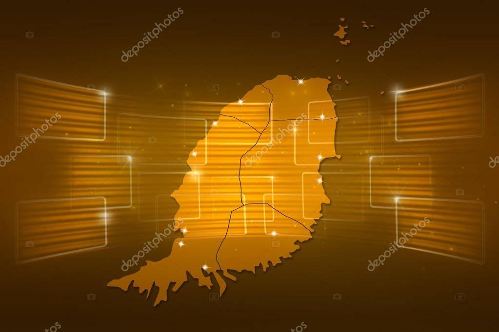 Grenada Map World Map News Communication Gold Yellow Stock Photo - Grenada map download
