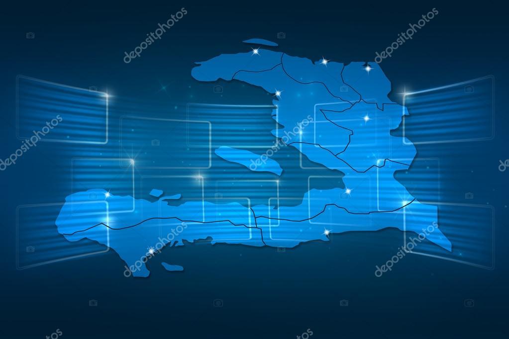 mapa sveta haiti Mapa Haiti mapa světa Novinky komunikace modré — Stock Fotografie  mapa sveta haiti