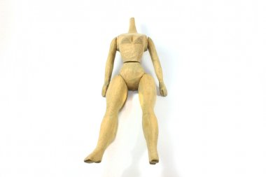 The homemade original doll headless from wood