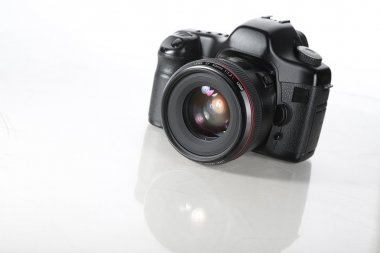 The camera on white background