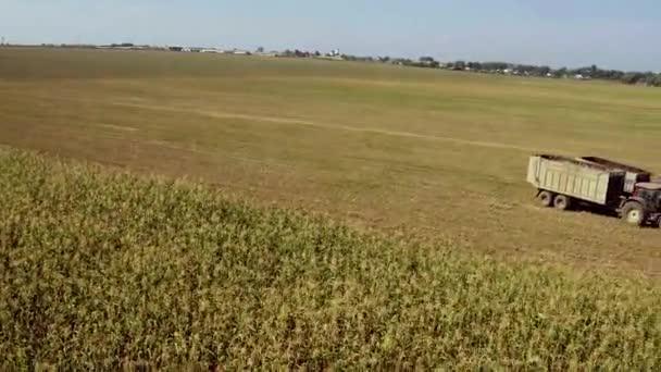 Letecký snímek kombajnu nakládajícího bylinné krmivo do přívěsu. Letecký snímek moderního kombajnu nakládajícího bylinky pro zvířata na tahačích. Zemědělské práce v terénu, agrární podnikání.