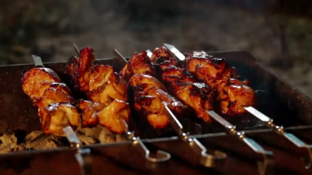 Lahodná grilovaná masa na grilu. Posezení s grilováním