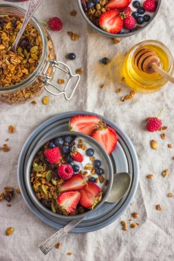 Healthy breakfast. Granola with fresh berries and  yogurt