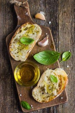 Italian ciabatta  bread with olive oil