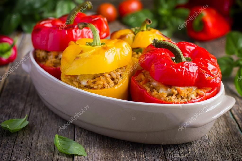 Stuffed peppers with meat, rice and vegetables