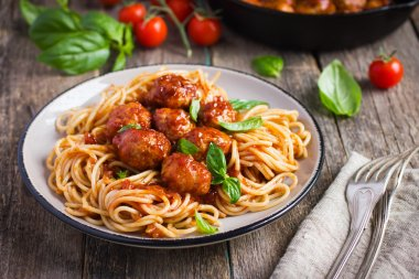 Spaghetti pasta  with meatballs and tomato sauce