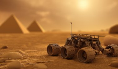 Rover and Pyramids on Mars