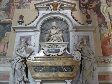 Galileo's tomb inside the Church of Santa Croce in Florence's historic center