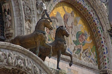 Architectural detail of the facade of the Basilica of San Marco in Venice city