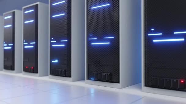 Weißer Serverraum eines Rechenzentrums oder ISP mit blauem Funkeln