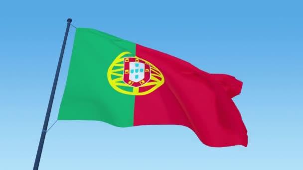 Portugál zászló hurok felvételek nappali fénynél közelről