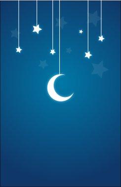 Present Card in night theme, Moon, Stars