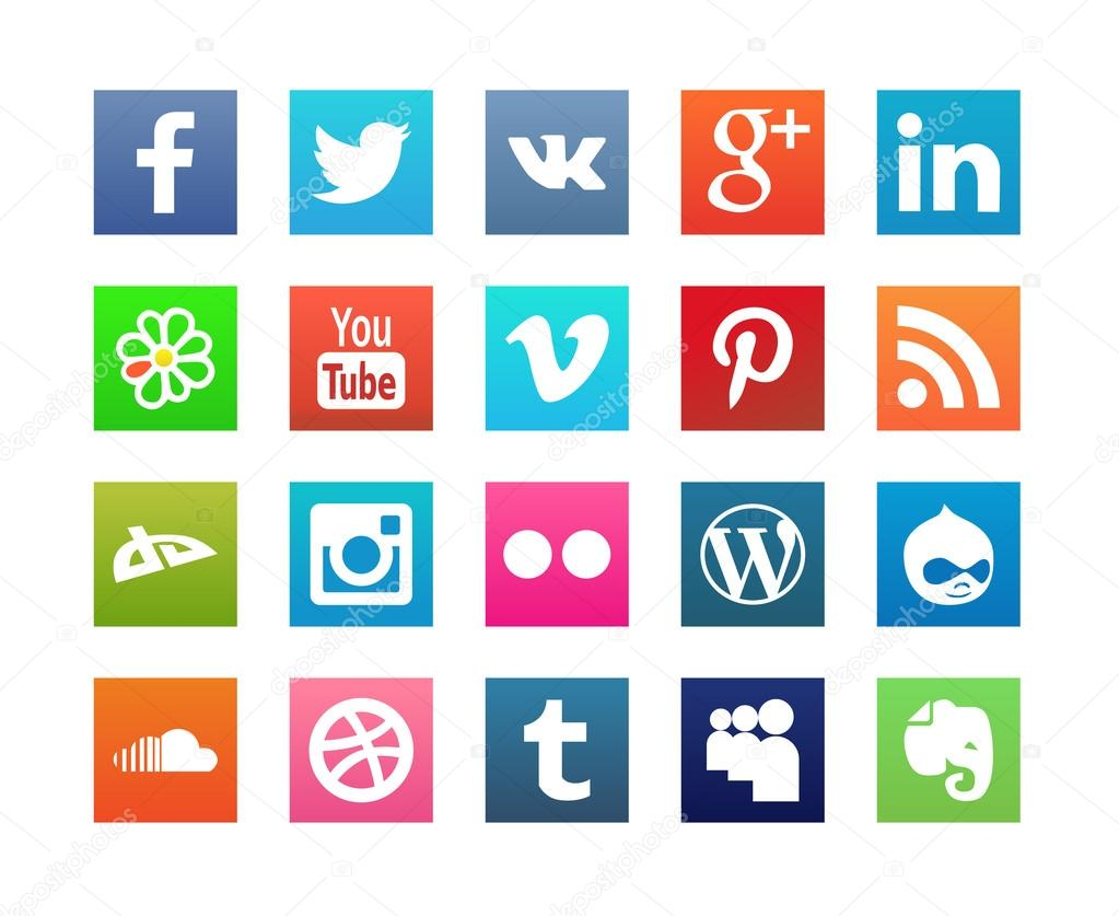 Collection of Flat Social Media Icons