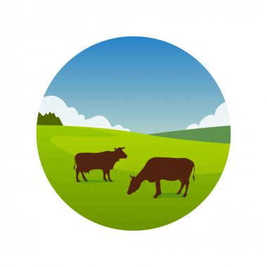 Landscape Illustration of green meadow with grazing cows in great summer day, Vector emblem isolated on white background stock vector