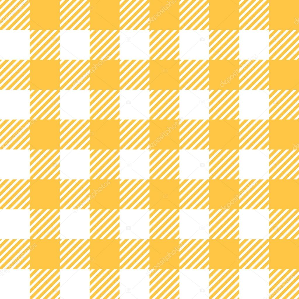 Tablecloth In Yellow With Checkered Design U2014 Stock Vector