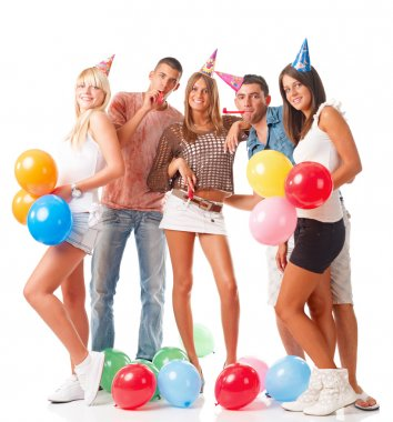 Young people on birthday party