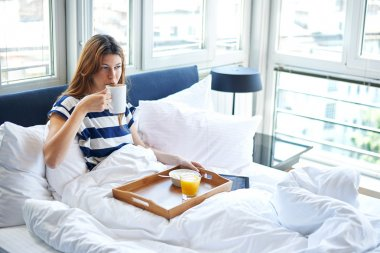 Breakfast in bed for woman