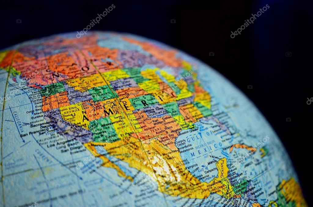 Close up globe of the world stock photo vichailao 57446719 close up globe of the world map globe america photo by vichailao gumiabroncs Gallery