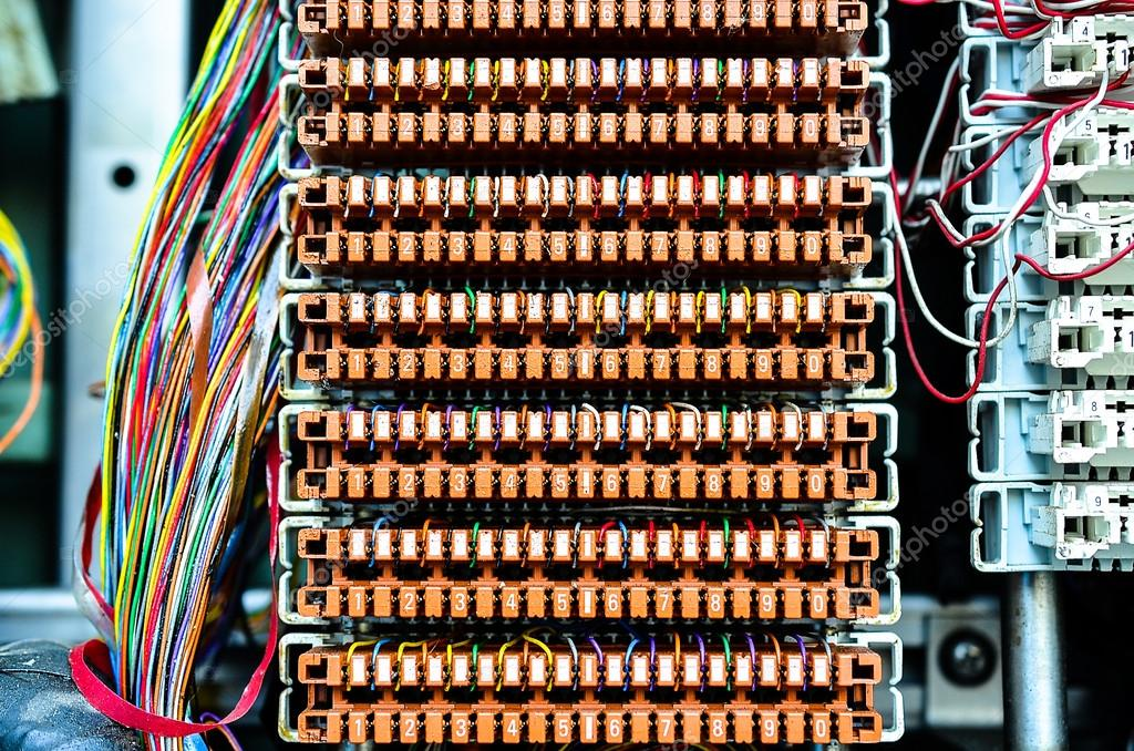 wires between circuit board at telephone exchange stock photo rh depositphotos com telephone wiring boise Residential Telephone Wiring Diagram