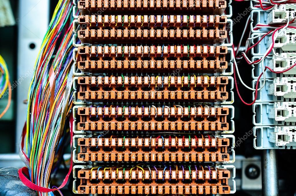 wires between circuit board at telephone exchange stock photo rh depositphotos com telephone wiring boise idaho Residential Telephone Wiring Diagram