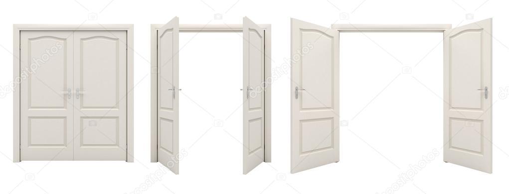 white double door. Open White Double Door Isolated On A Background. \u2014 Stock Photo